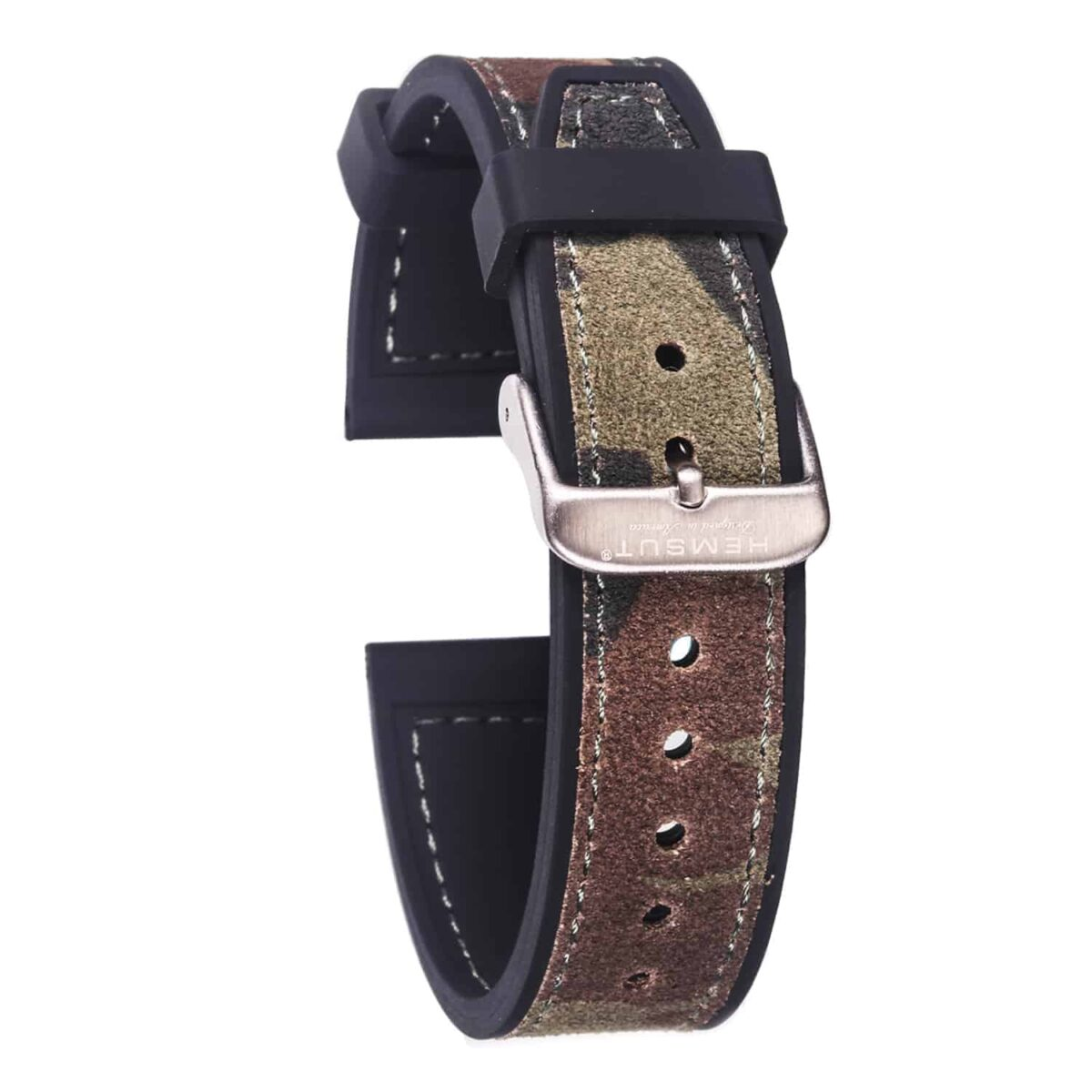 Camouflage | Silicone & Leather Hybrid Watch Straps