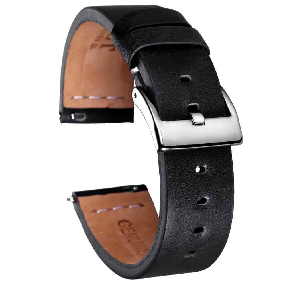 Samsung Gear Sport Watch Bands | Calfskin Leather Bands | Black