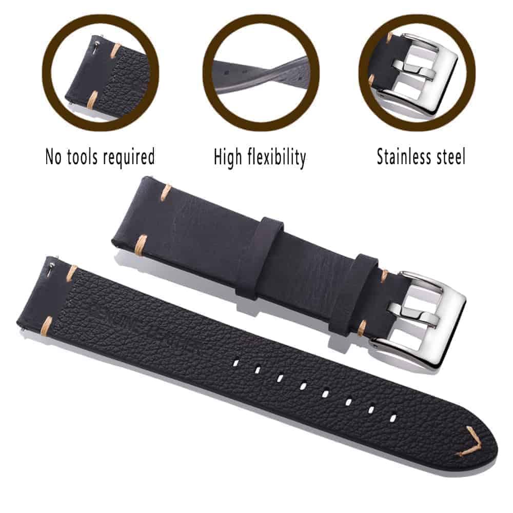 Black | Vintage Leather Watch Straps Quick Release