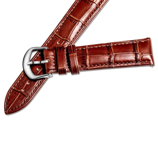 Brown stitches Brown | Alligator Embossed Leather Watch Bands Quick Release