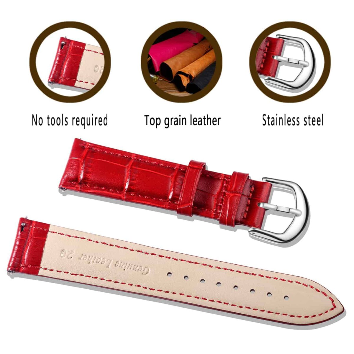 RED | Alligator Embossed Leather Watch Bands Quick Release