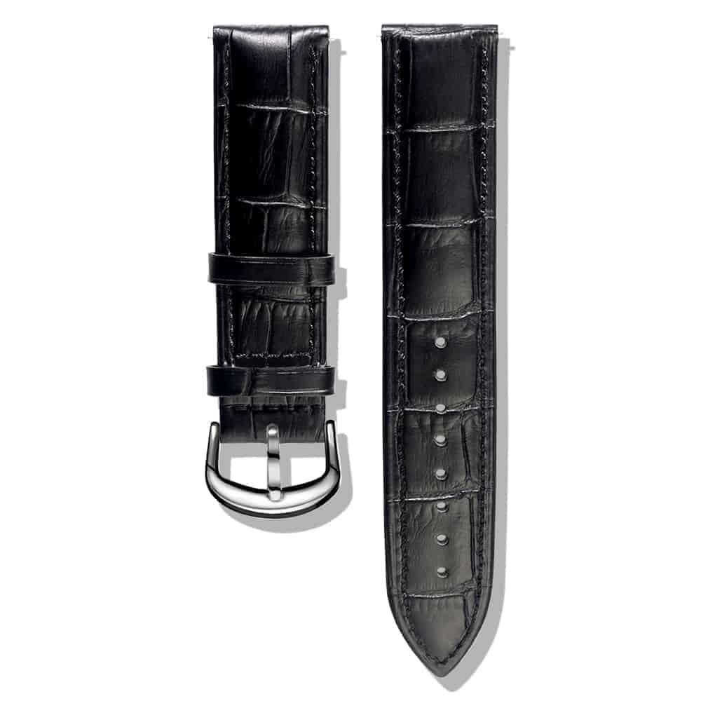 Black | Alligator Embossed Leather Watch Bands Quick Release
