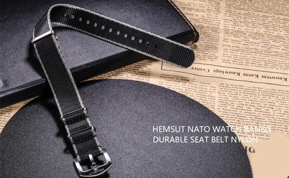 Black & Grey Nylon NATO Watch Bands Silver Buckle | Hemsut