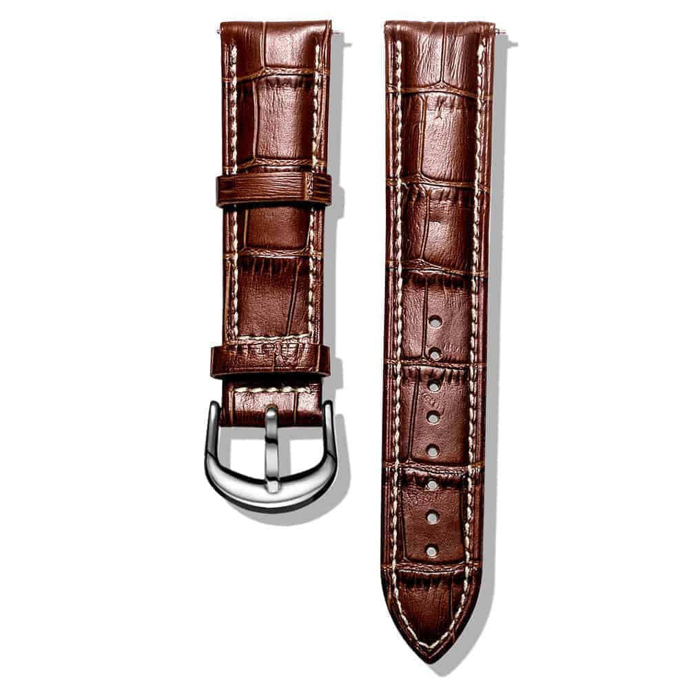 Longine-brown | white stitches Alligator Embossed Leather Watch Bands Quick Release