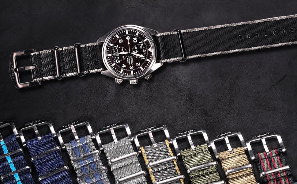Black Nylon NATO Watch strap Silver Buckle | Hemsut
