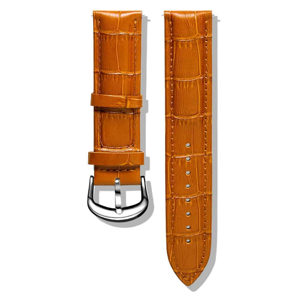 Brown Yellow | Alligator Embossed Leather Watch Bands Quick Release