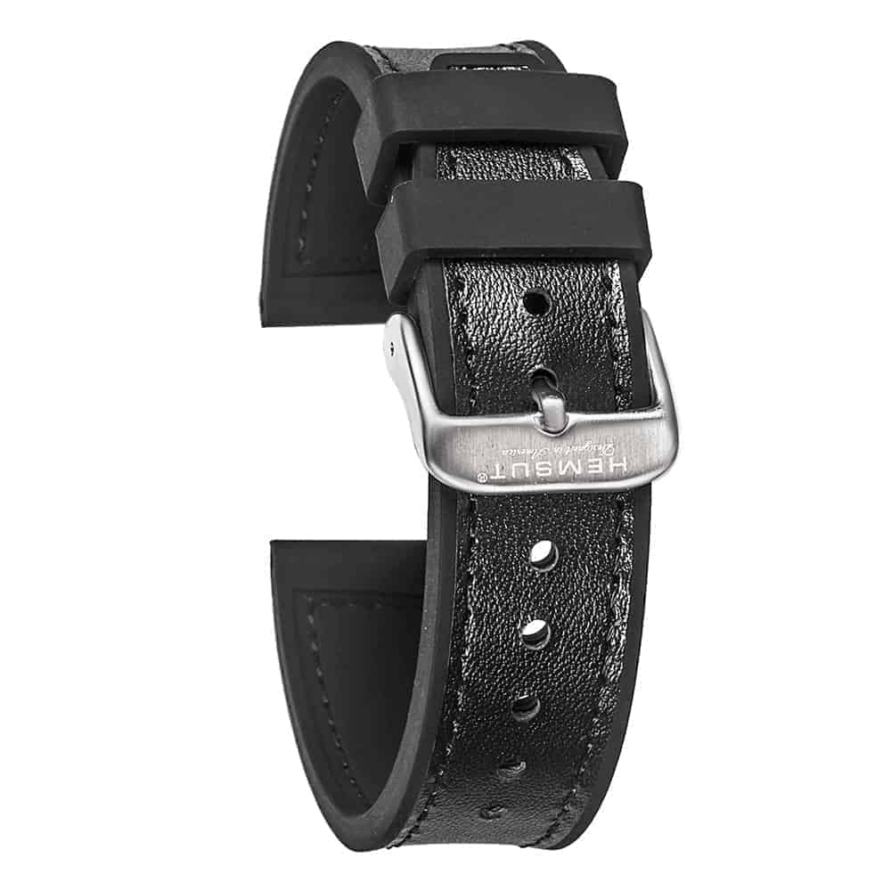 Samsung Gear S3 | Silicone & Leather Hybrid Watch Bands | Black