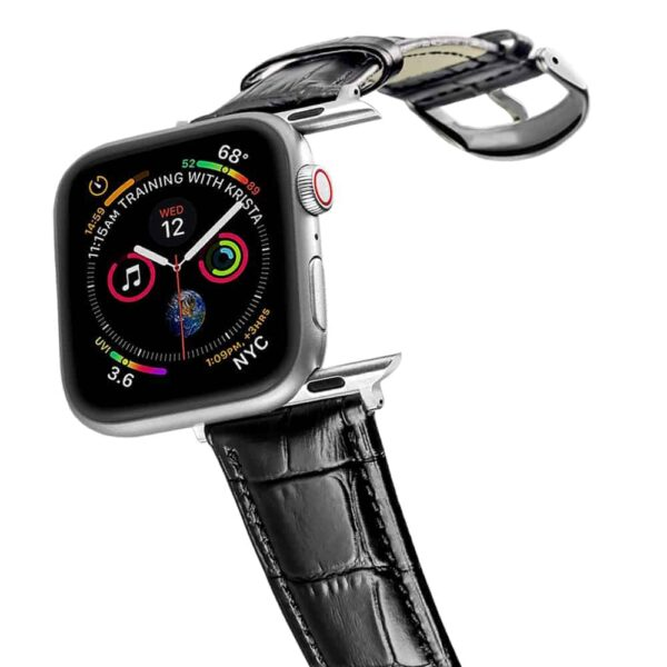 Apple Watch Bands | Alligator Grain Leather Straps | Black
