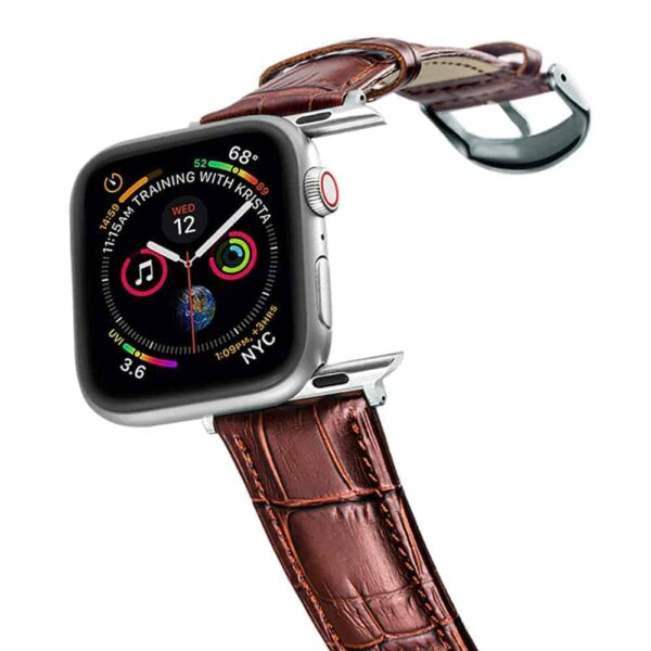 Apple Watch Bands | Alligator Grain Leather Straps | Brown