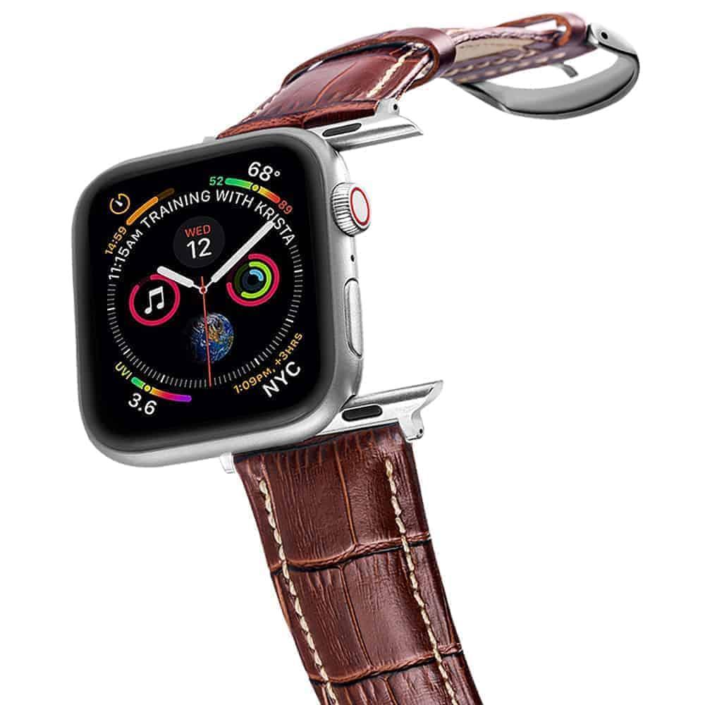 Apple Watch Bands | Alligator Grain Leather Straps | Longine Brown