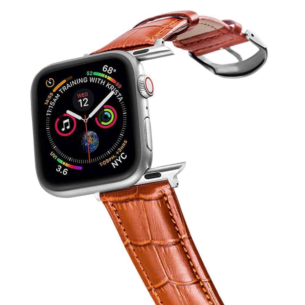 Apple Watch Bands | Alligator Grain Leather Straps | Orange