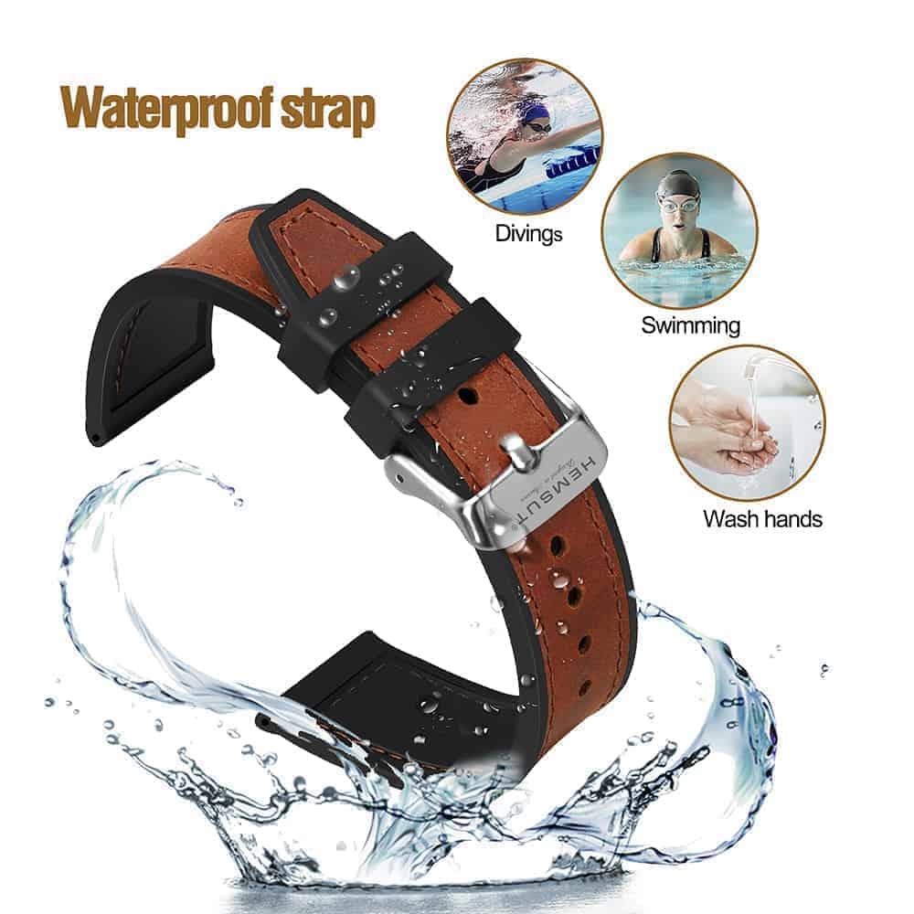 Samsung Galaxy Watch Active | Silicone & Leather Hybrid Watch Straps | Brown