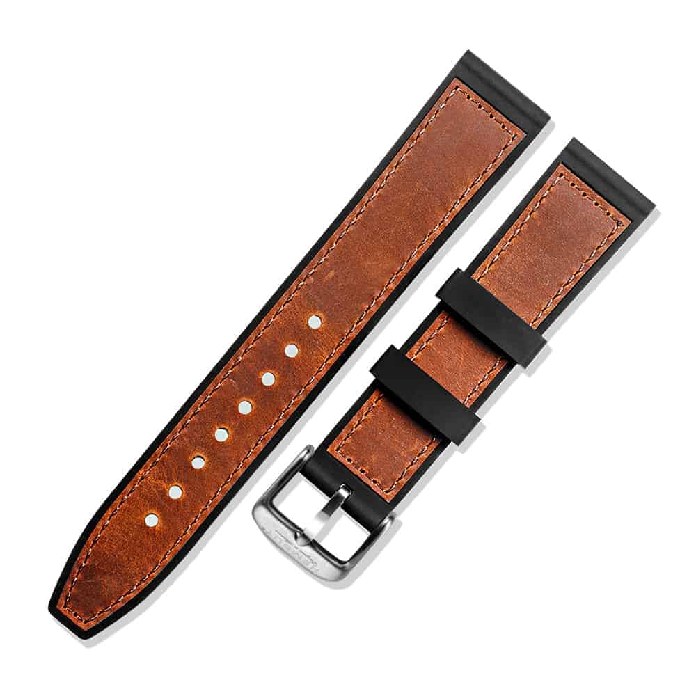 MOBVOI TICWATCH | Silicone & Leather Hybrid Watch Bands | Brown