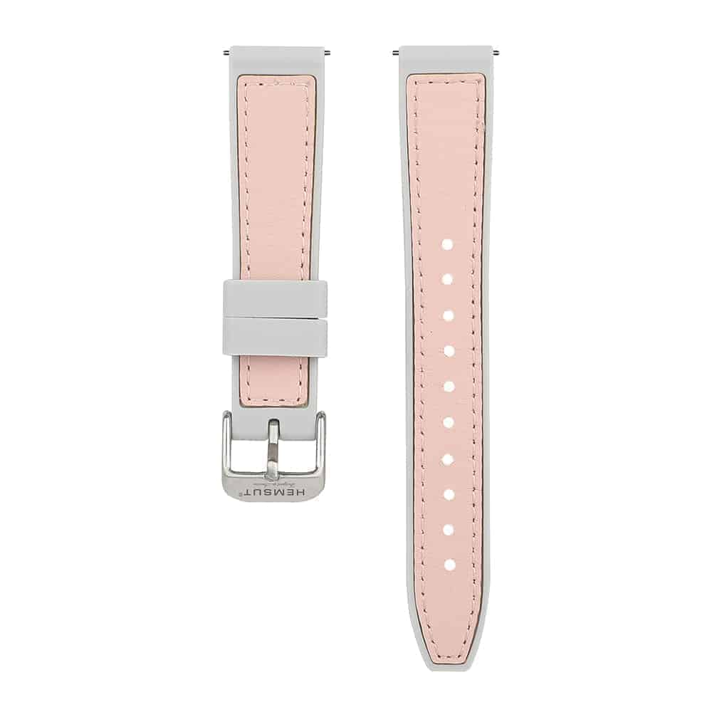 Grey & Pink | Silicone & Leather Hybrid Watch Straps