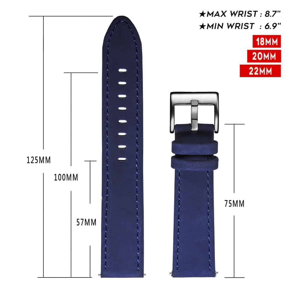 Samsung Gear Sport | Genuine Leather Watch Bands | Blue