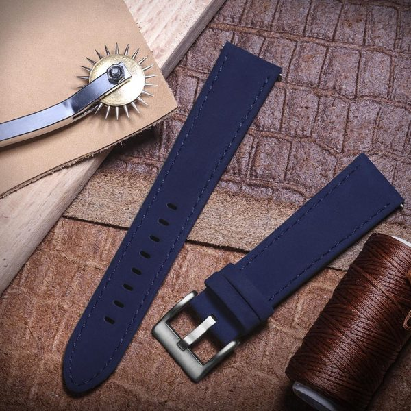 FOSSIL GEN 5 | Genuine Leather Watch Bands | Blue
