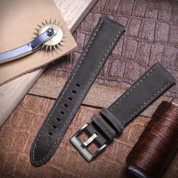 Samsung Galaxy Watch | Genuine Leather Watch Bands | Dark Grey