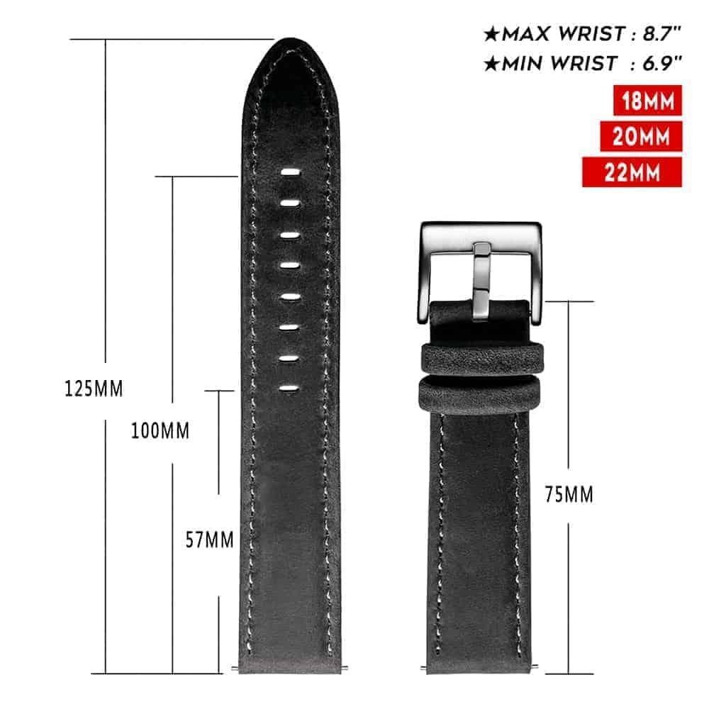 Samsung Galaxy Watch Active 2 | Genuine Leather Watch Bands | Dark Grey