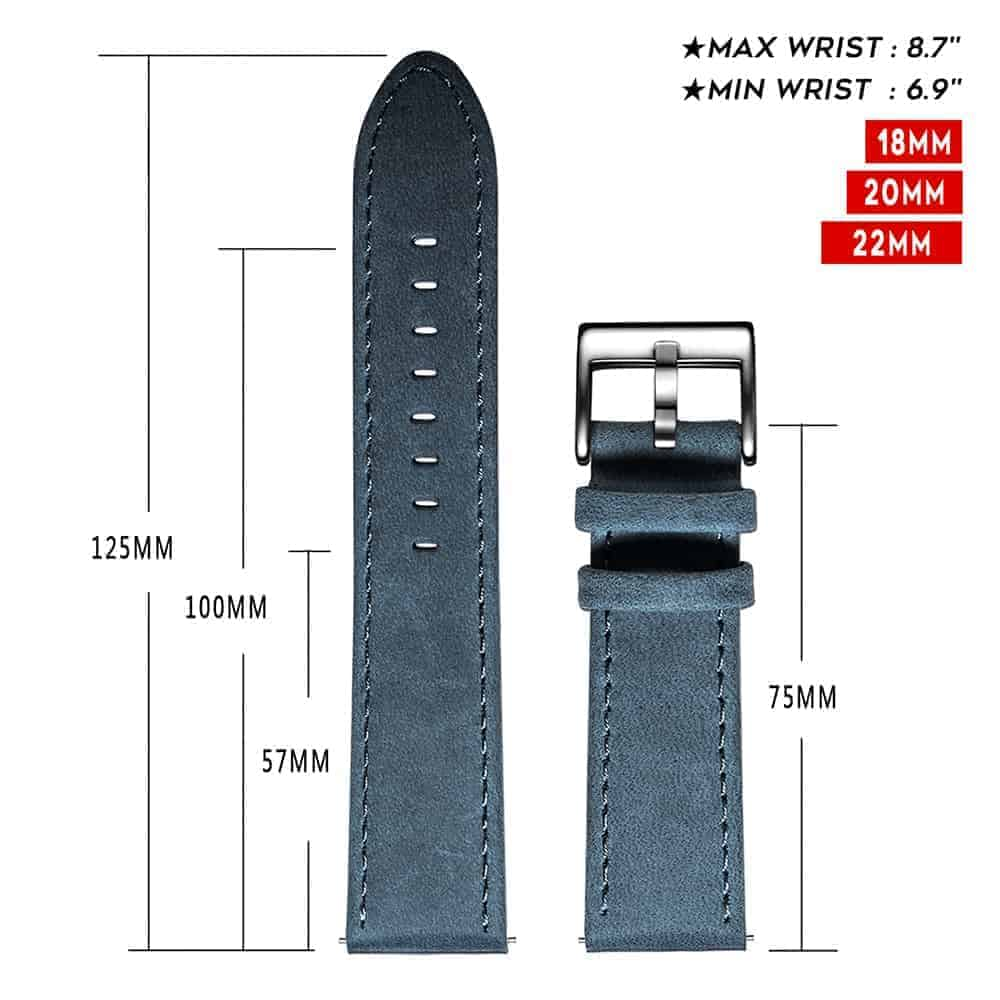 FOSSIL GEN 5 | Genuine Leather Watch Bands | Navy Blue
