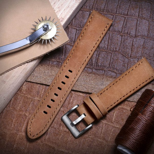 FOSSIL GEN 5 | Genuine Leather Watch Bands | Suede Brown