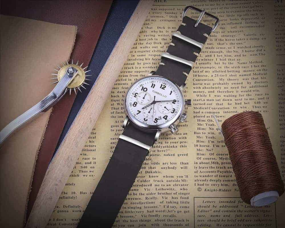 Black Leather NATO Watch Straps | 18mm 20mm 22mm | Hemsut