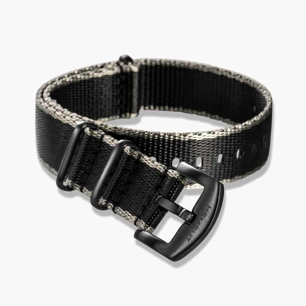 Black & Grey Nylon NATO Strap   Black Buckle
