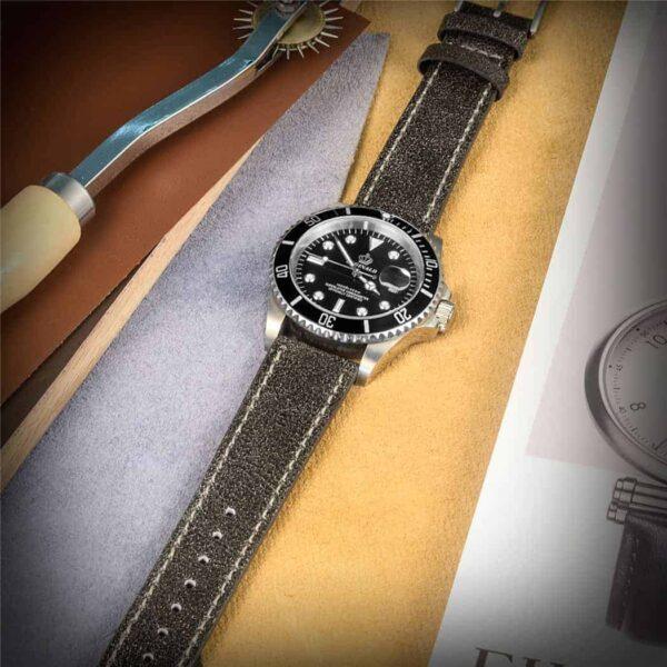 Mastrotto Leather Watch Bands Quick Release | Dark Grey  | Hemsut