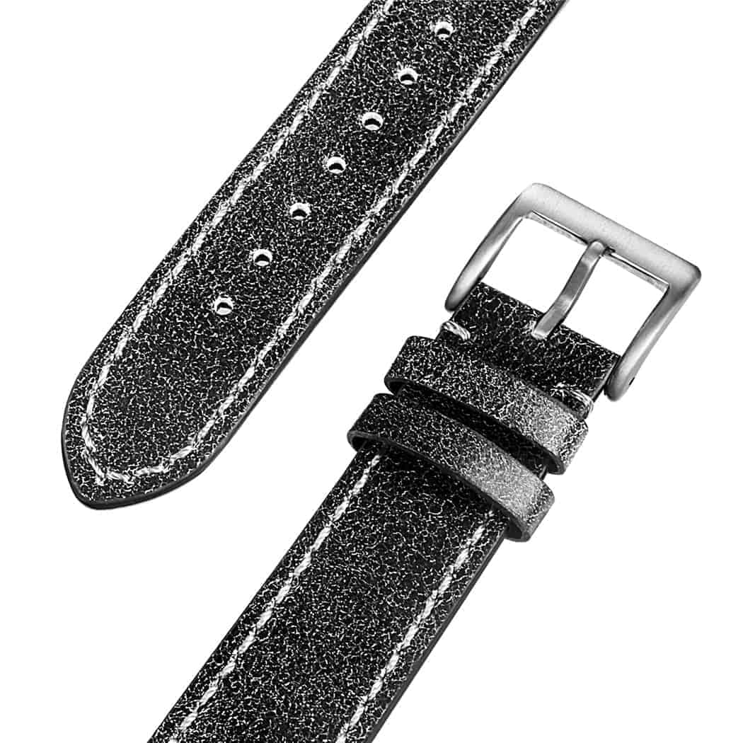 Black Mastrotto Genuine Leather Watch Bands Quick Release | Hemsut