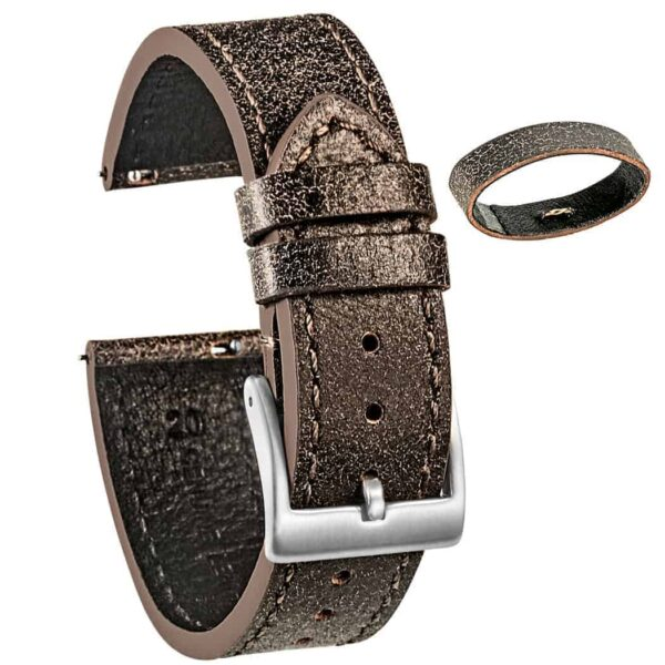 Mastrotto Leather Watch Bands Quick Release | Saddle  | Hemsut
