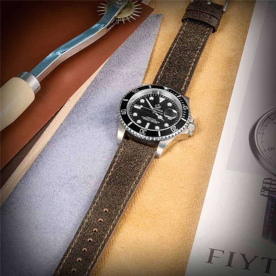 Saddle Mastrotto Leather Watch Straps Quick Release   Hemsut