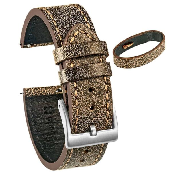 Mastrotto Leather Watch Bands Quick Release | Brown  | Hemsut