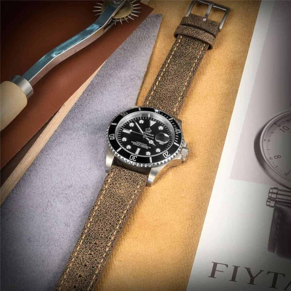 Brown Nubuck Leather Watch Bands Quick Release | Hemsut