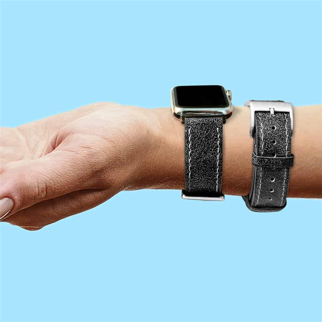 Mastrotto Leather Watch Bands Quick Release | Dark Grey  | Hemsut
