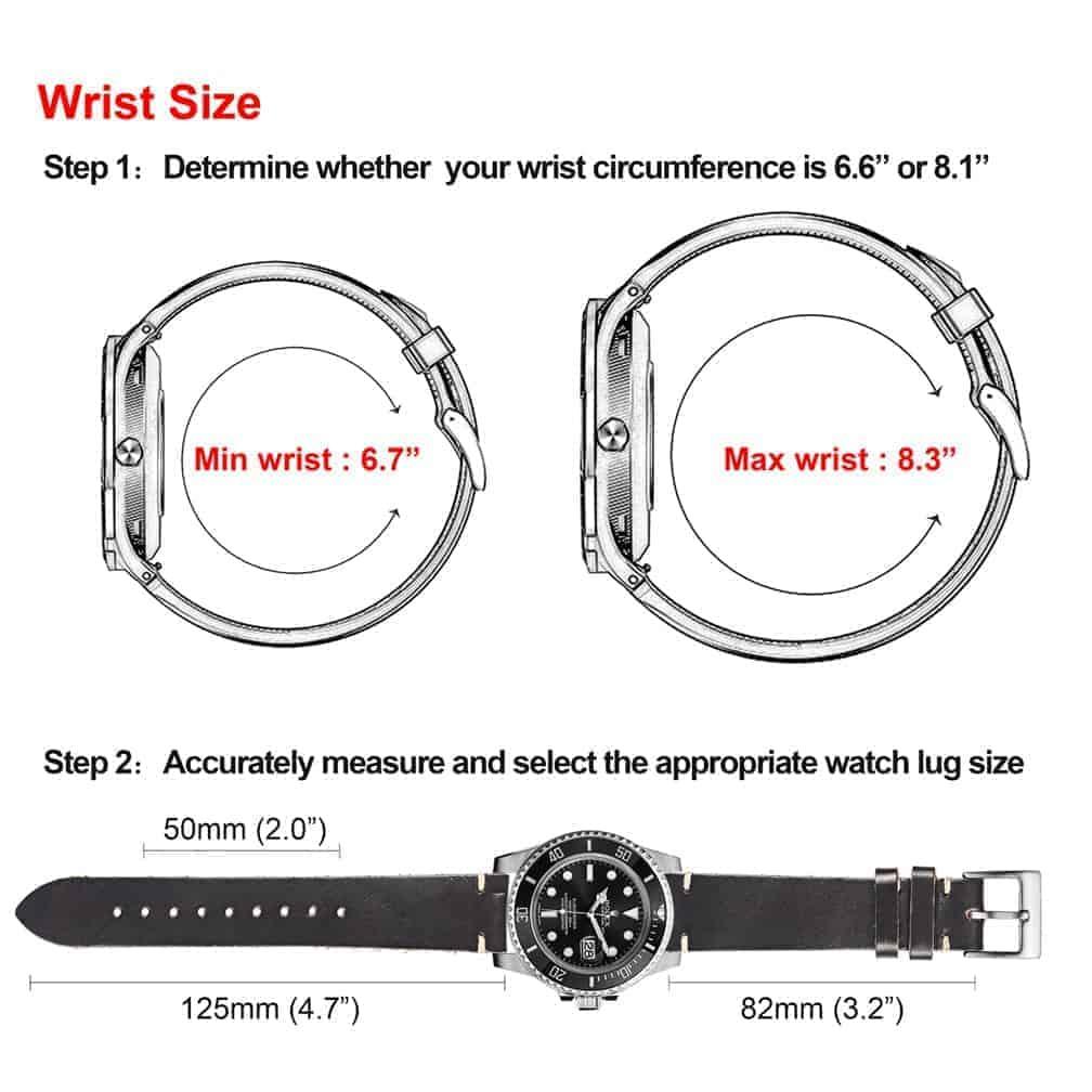 Black   Thin Horween Leather Watch Strap   Hemsut