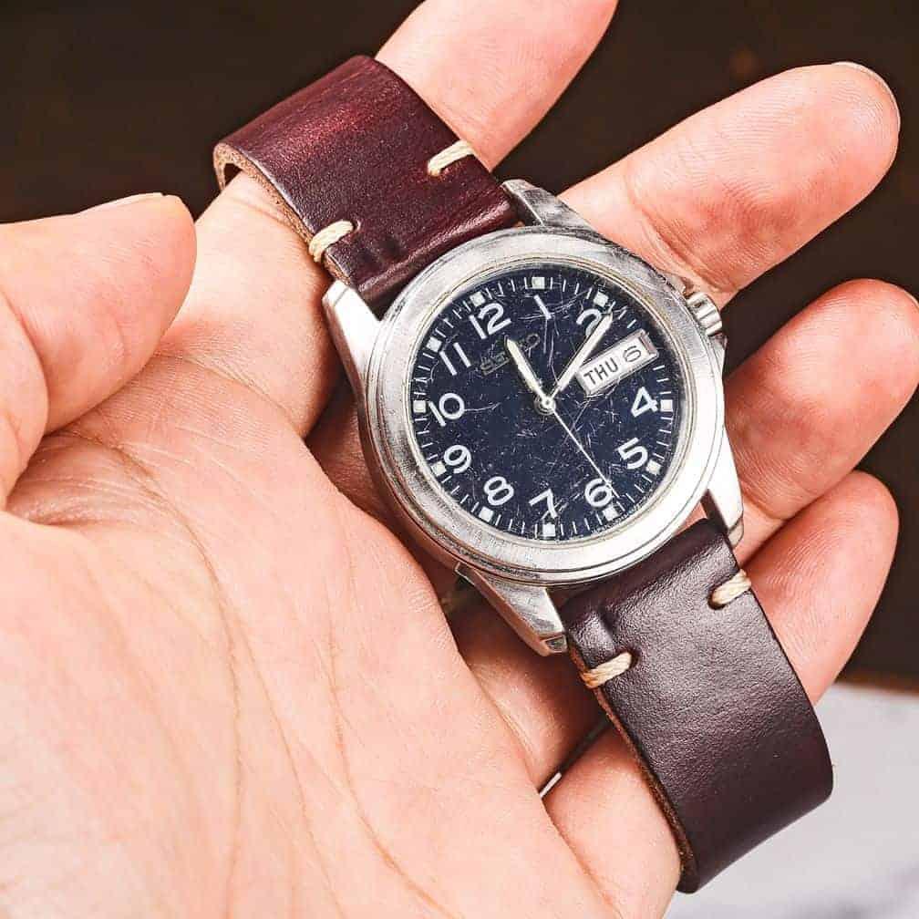 Brown | Thin Horween Leather Watch Bracelet | Hemsut