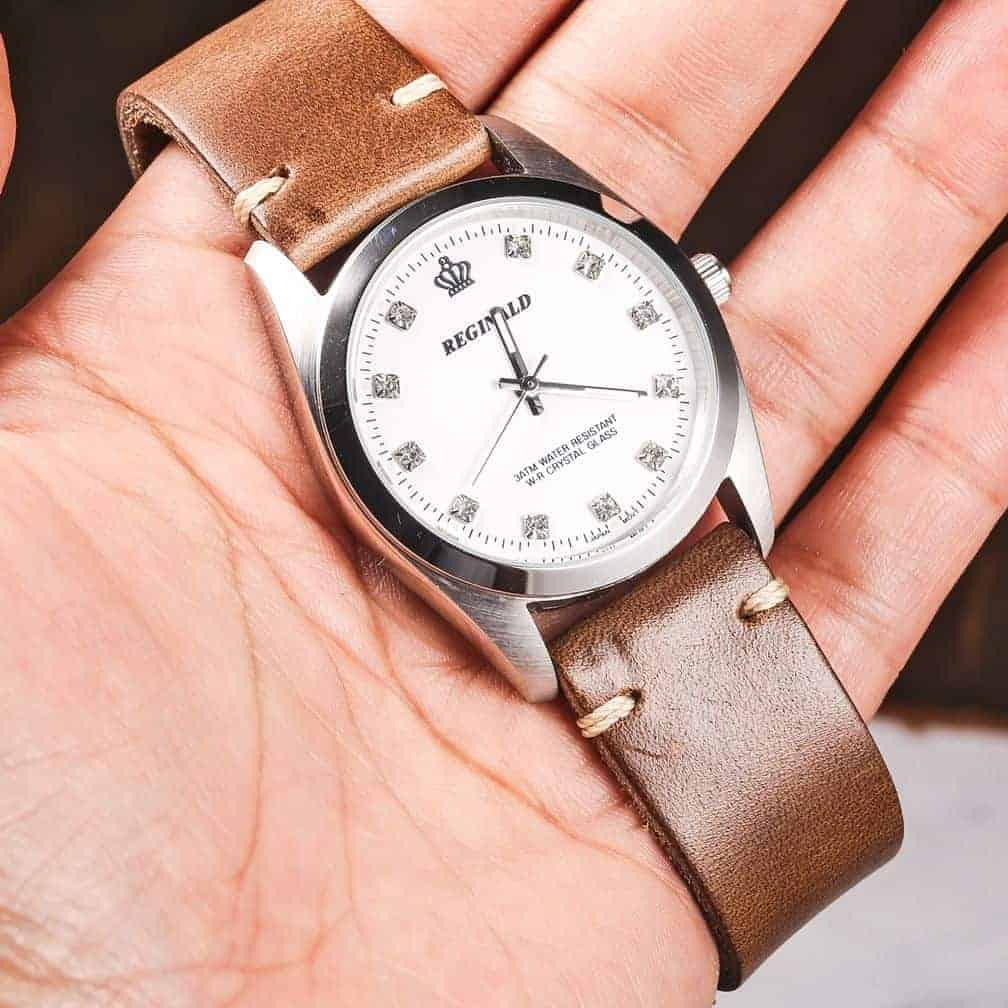 Natural   Thin Horween Leather Watch Strap   Hemsut