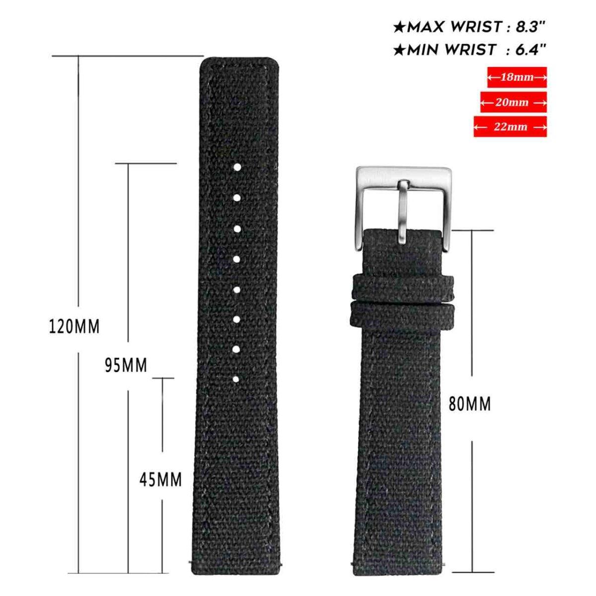 Black | Canvas Watch Bands Quick Release | Hemsut
