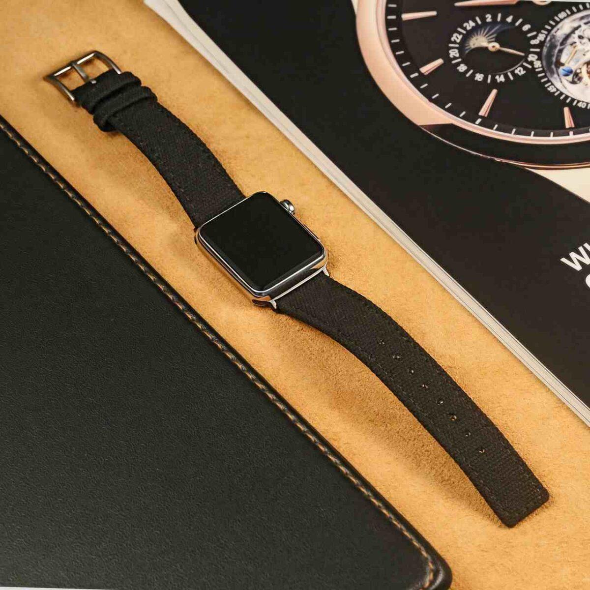 Apple Watch Bands   Black Weaved Canvas   Hemsut
