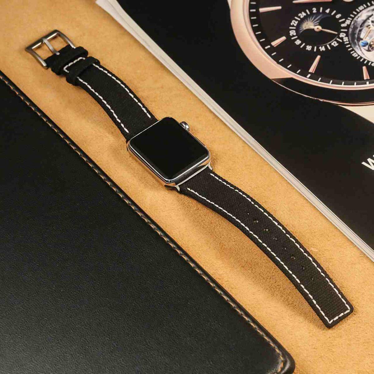 Apple Watch Bands   Black Weaved Canvas White Stitches   Hemsut