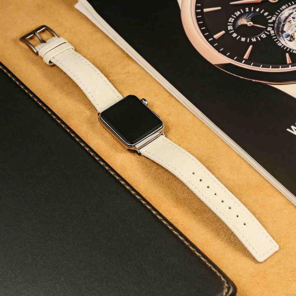 White | Canvas Watch Bands Quick Release | Hemsut