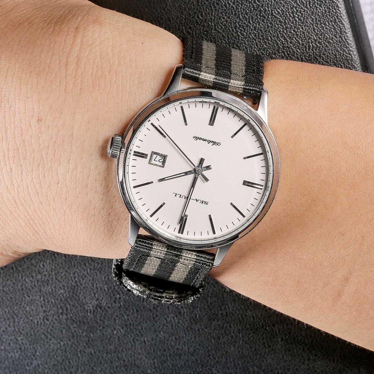 Black in White Nylon Watch Band | Hemsut