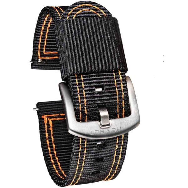 Black & Orange Nylon Watch Straps | Hemsut